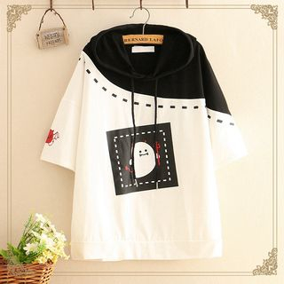 Kawaii Fairyland - Ghost Print Color-Block Short-Sleeve Hoodie
