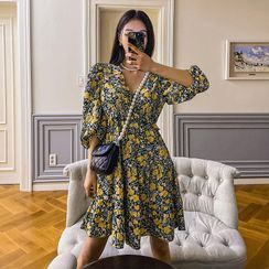 LIPHOP - Balloon-Sleeve Frilled Floral Dress