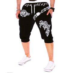 Peibo - 印花垂胯短款运动裤