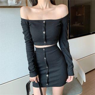 BBChic - 露肩長袖短款上衣 / 迷你鉛筆裙