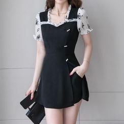 NEME - Set: Short-Sleeve Flower Print Mini A-Line Dress + Shorts