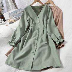 Oneiroi - V-Neck Long-Sleeve A-Line Dress