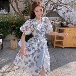 Shumanee - 泡泡袖V领碎花迷你A字连衣裙