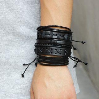 KINNO - Set of 5: Genuine Leather Bracelet