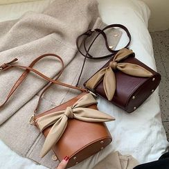 Miloes - Faux Leather Bow-Panel Crossbody Bucket Bag