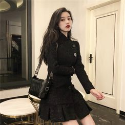 Karnel - Long-Sleeve Tweed Mini Dress