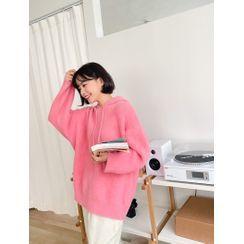 J-ANN - Colored Furry Knit Hoodie