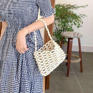 MERONGSHOP - Wood-Bead Mini Hand Bag with Pouch