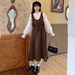 Yoshimi - Long-Sleeve Button-Up Mock-Neck Blouse / Ruffle Midi A-Line Pinafore Dress