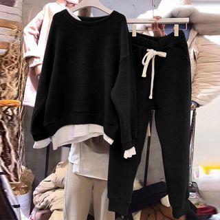 Carmenta - Set: Mock Two-Piece Sweatshirt + Sweatpants