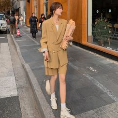 Jinyo - 套装:纯色夹克 + 纯色短裤