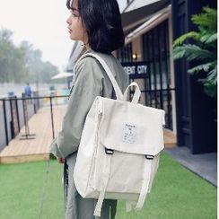 Sosara - Canvas Buckled Flap Backpack
