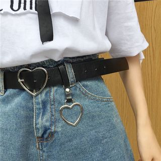 LINSI - Faux Leather Heart Buckle Belt