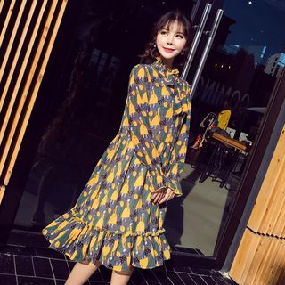 Mammi - Maternity Long-Sleeve Cartoon Print A-Line Dress