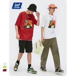 Newin - 夏日椰树抽象印花宽松短袖T恤