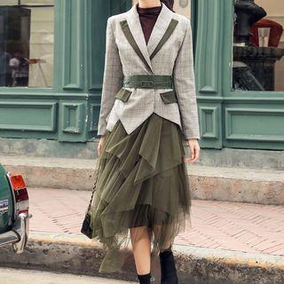 Yilda - Plaid Blazer / Mesh Midi A-Line Skirt
