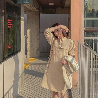 CHERRYKOKO - Flap-Detail Boxy Shirtdress