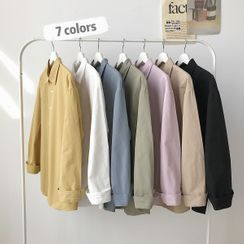 KOKAY - 长袖纯色衬衫
