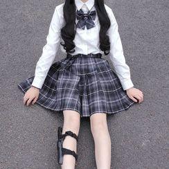 RIMIA - Plaid Pleated Mini A-Line Skirt / Short-Sleeve Shirt / Ribbon Bow Tie