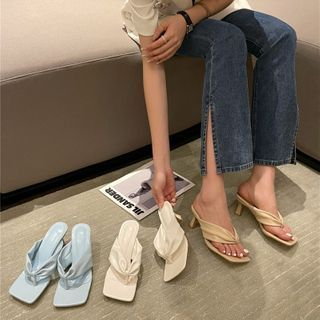 Niuna - Kitten-Heel Square-Toe Sandals