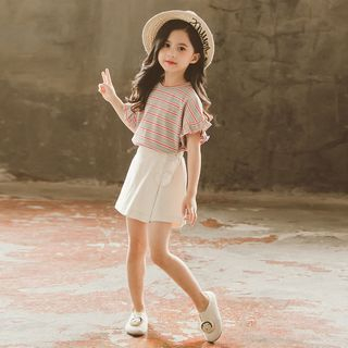 Famula - 兒童套裝: 條紋短袖T裇 + 荷葉裙褲