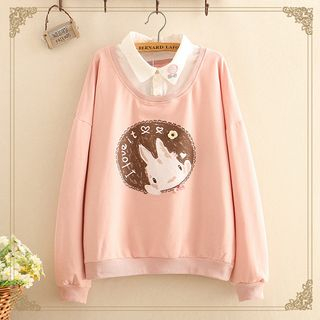 Kawaii Fairyland - Inset Shirt Collar Rabbit Print Pullover