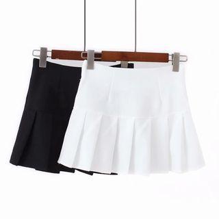 Asiris - Pleated A-Line Mini Skirt