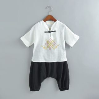 SEE SAW - Kids Set: Embroidered Short-Sleeve T-Shirt + Pants