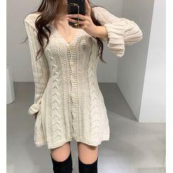 KiTi - V-Neck Cable Knit Mini Dress