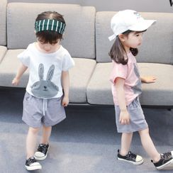 PAM - Kids Set: Short-Sleeve Rabbit T-Shirt + Shorts