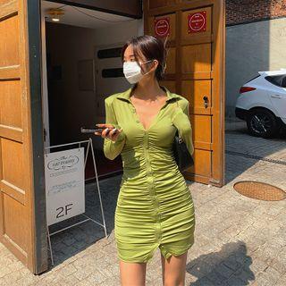LIPHOP - Button-Front Shirred Satin Mini Bodycon Dress