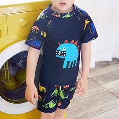 Aqua Wave - 小童套裝: 短袖怪獸印花泳衣上衣 + 短褲 + 帽子