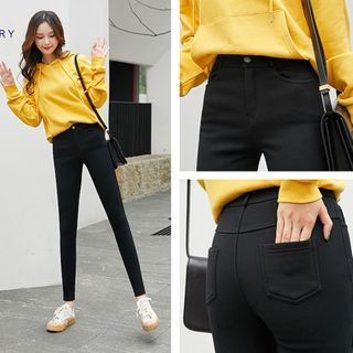 ERNICE - Plain High-Waist Skinny Pants