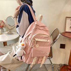 Novila(ノビラ) - Letter Embroidered Multi-Section Backpack