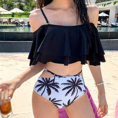 MALILA - 套裝: 荷葉鏤空肩坦基尼泳衣上衣 + 樹木印花比基尼泳衣下裝