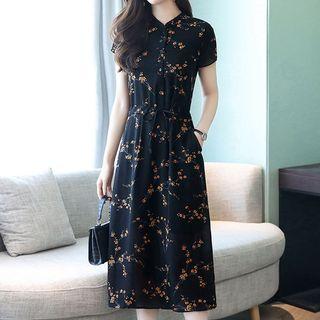 Kotoba - Floral Print Short-Sleeve Chiffon Dress