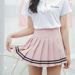 CASSY - Pleated Stripe Mini Skirt
