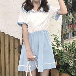 Ashlee - Sailor Collar Short-Sleeve A-Line Dress