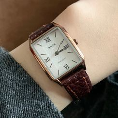 Betsuno - Faux Leather Rectangle Strap Watch