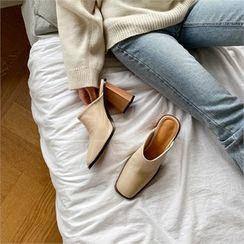 MONOBARBI - Square-Toe Chunky Wooden-Heel Mules