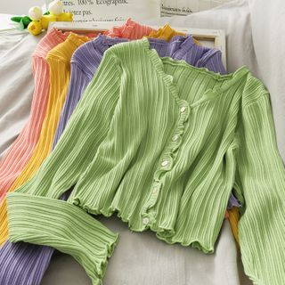 Lemongrass - 修身低領木耳邊短款長袖上衣