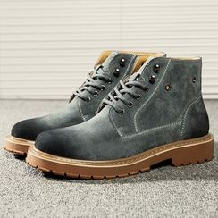 Bofan - Stitched Lace-Up Short Boots