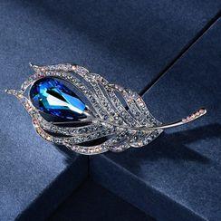 Muscovite - 施華洛世奇元素水晶羽毛胸針