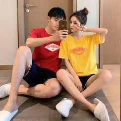 Endormi - Pajama Set: Short-Sleeve Letter Print T-Shirt + Shorts