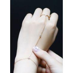kitsch island - Rhinestone Ring Bracelet