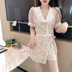 GANGER - Short-Sleeve Lace Trim Floral Chiffon Shirt / Mini Skort