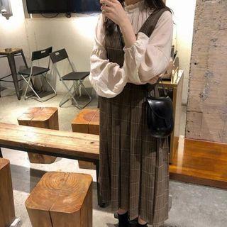 Apotheosis - 套裝:泡泡袖皺摺邊立領襯衫 + 格子A字背帶裙