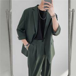 Hawoo - Set: One-Button Blazer + Dress Pants