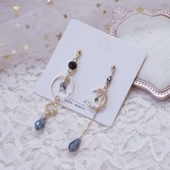 Dashiro - Non-matching Faux Crystal Moon & Star Dangle Earring