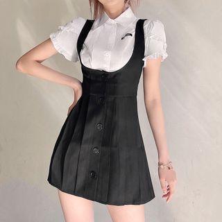 Sugarcoat - Short-Sleeve Ruffled Shirt / Button-Up Mini Overall Dress